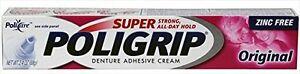 3 Pack - Super Poligrip Zinc Free Denture Adhesive Cream, Original - 2.4 oz Each