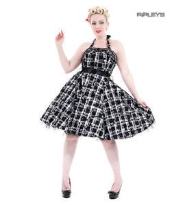 H-amp-R-Hearts-amp-Roses-London-50s-Goth-Punk-Dress-039-Kiara-039-White-Tartan-All-Sizes