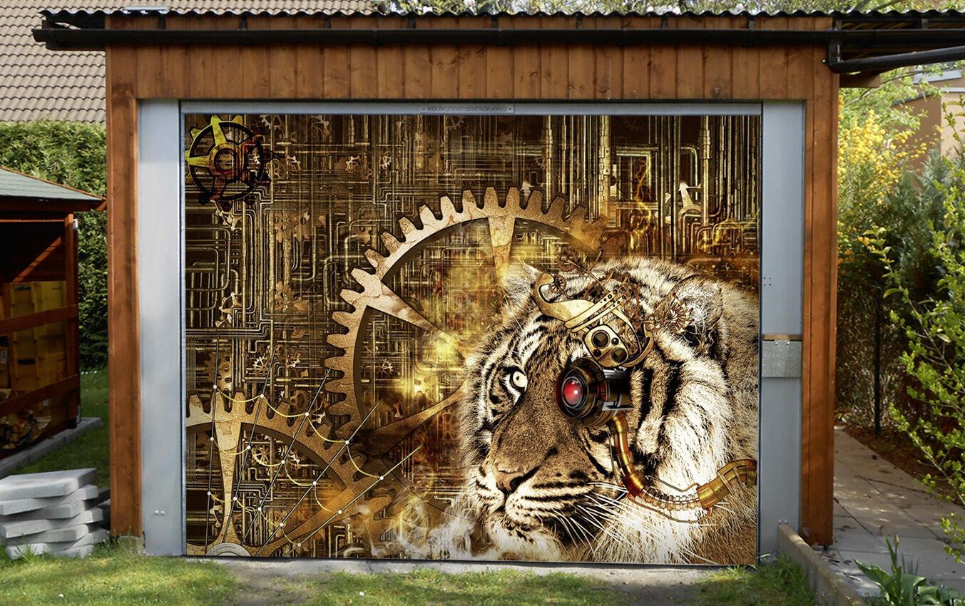 3D Tiger, gear  Garage Door Murals Wall Print Decal Wall Deco AJ WALLPAPER UK