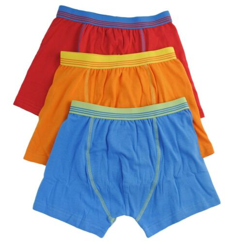 Boys Kids 3 Pack Boxer Trunks Tom Franks Blue Orange Red 95/% Cotton 5/% Elastane
