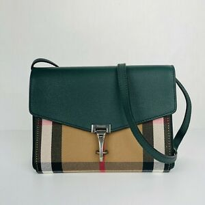 Burberry Macken House Check Derby Leather Canvas Crossbody Bag 80088801