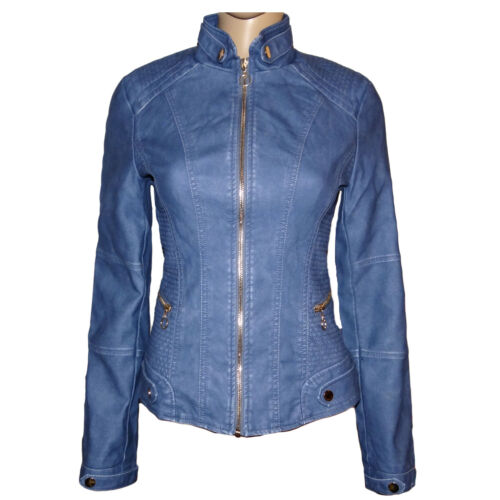 NEUF wow Femmes originaux cuir synthétique veste look vintage used-look motard veste