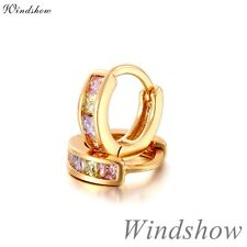 18K Gold Filled MultiColor CZ Zircons Mini Hoop Earrings Jewelry for Kids Girls