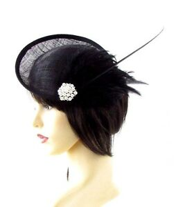 Large Black Ivory Quill Feather Saucer Disc Fascinator Hat Races Sinamay Vtg 661