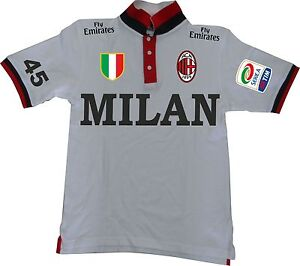 99612ad1b9 Caricamento dell'immagine in corso POLO-MILAN-CALCIO-ITALIA -2013-MAGLIETTA-T-SHIRT-