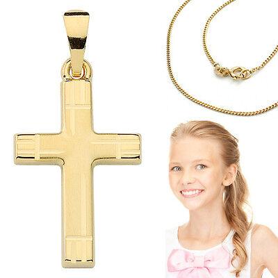 Aufstrebend Kinder Taufe Erst Kommunion Konfirmation Kreuz Anhänger Gold 333 Mit 925 Kette HöChste Bequemlichkeit