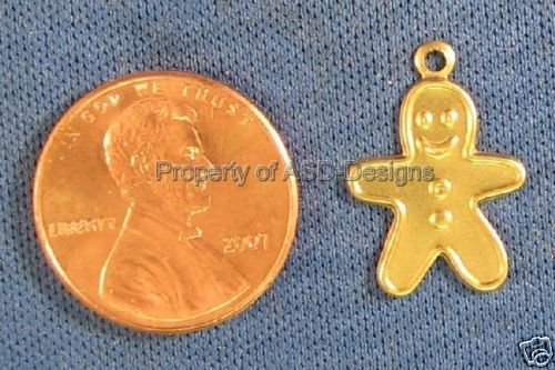 50pc Raw Brass X-MAS Gingerbread Man Cookie Charms 4829