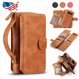 For-Samsung-Galaxy-S10-S10-Plus-S10e-Removable-Zipper-Leather-Wallet-Case-Cover
