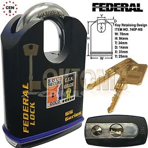 Federal-70mm-Heavy-Duty-Shrouded-Solid-Steel-Sold-Secure-Gold-CEN-5-Padlock