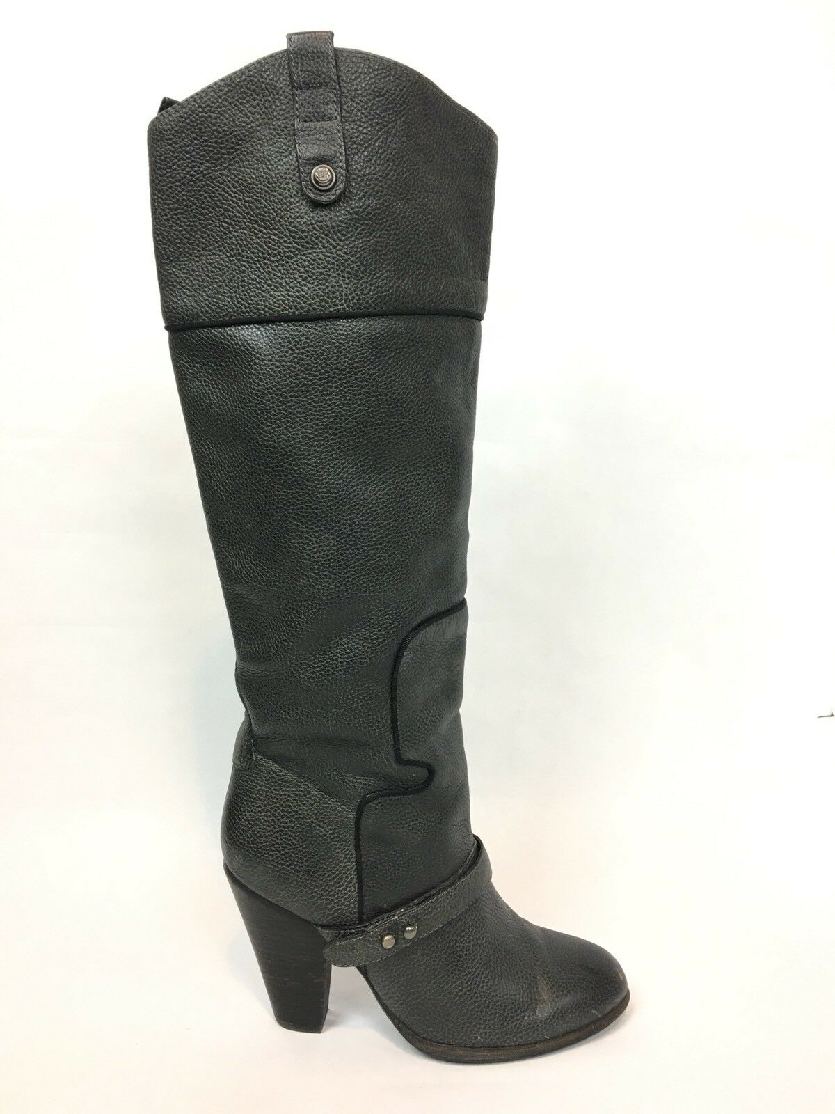 Sam Edelman Naharra Gray/Black Pebbled Leather Boots / Women's Size 6M