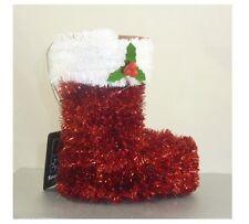 12cm 3D Fronzoli ALBERO DI NATALE DECORAZIONE APPENDERE-Rosso + Bianco boot (pm347)