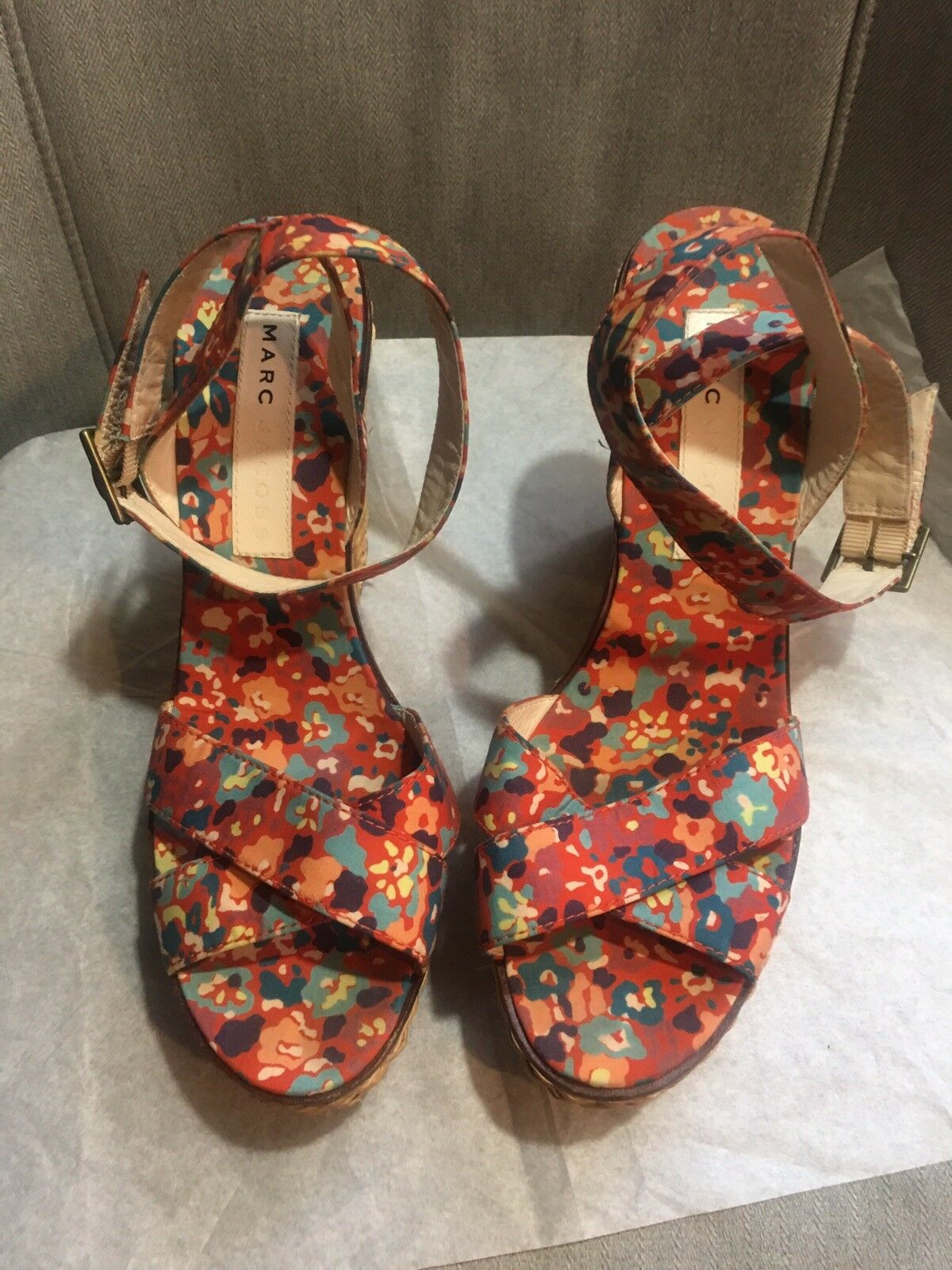 Auth Marc By Marc Jacobs Floral Ankle Ankle Ankle Strap Wedge Sandals Platform shoesSize 38 M 399f83