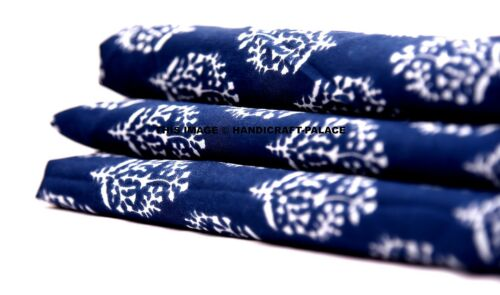 5//10 Yards Cotton Hand Block Print Handmade Dabu Indian Fabric Natural Jaipuri