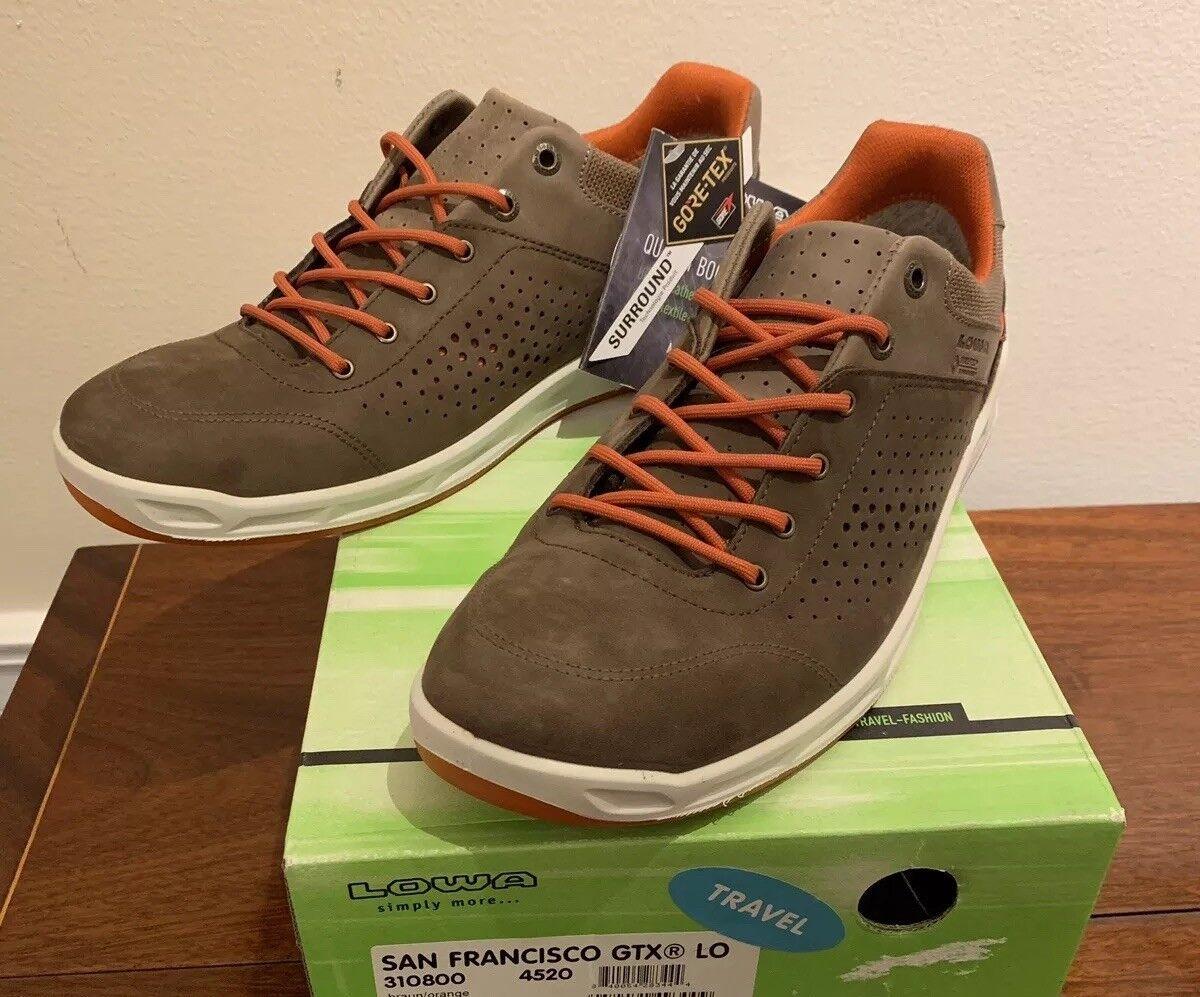 New   Lowa San Francisco GTX Lo Gore-Tex shoes. Brown orange. US 10.