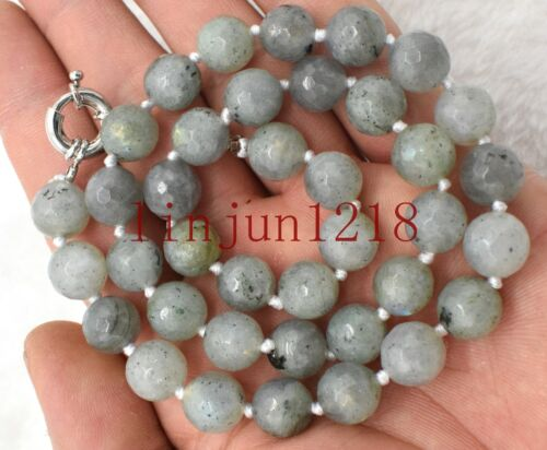New 8mm 10mm Faceted Labradorite Real Natural Gemstone Round Beads Necklaces18/'/'
