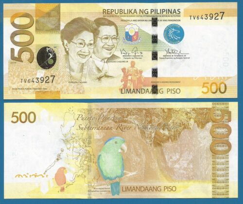 Combine FREE! Philippines 500 Piso P 210 UNC 2014 Low Shipping