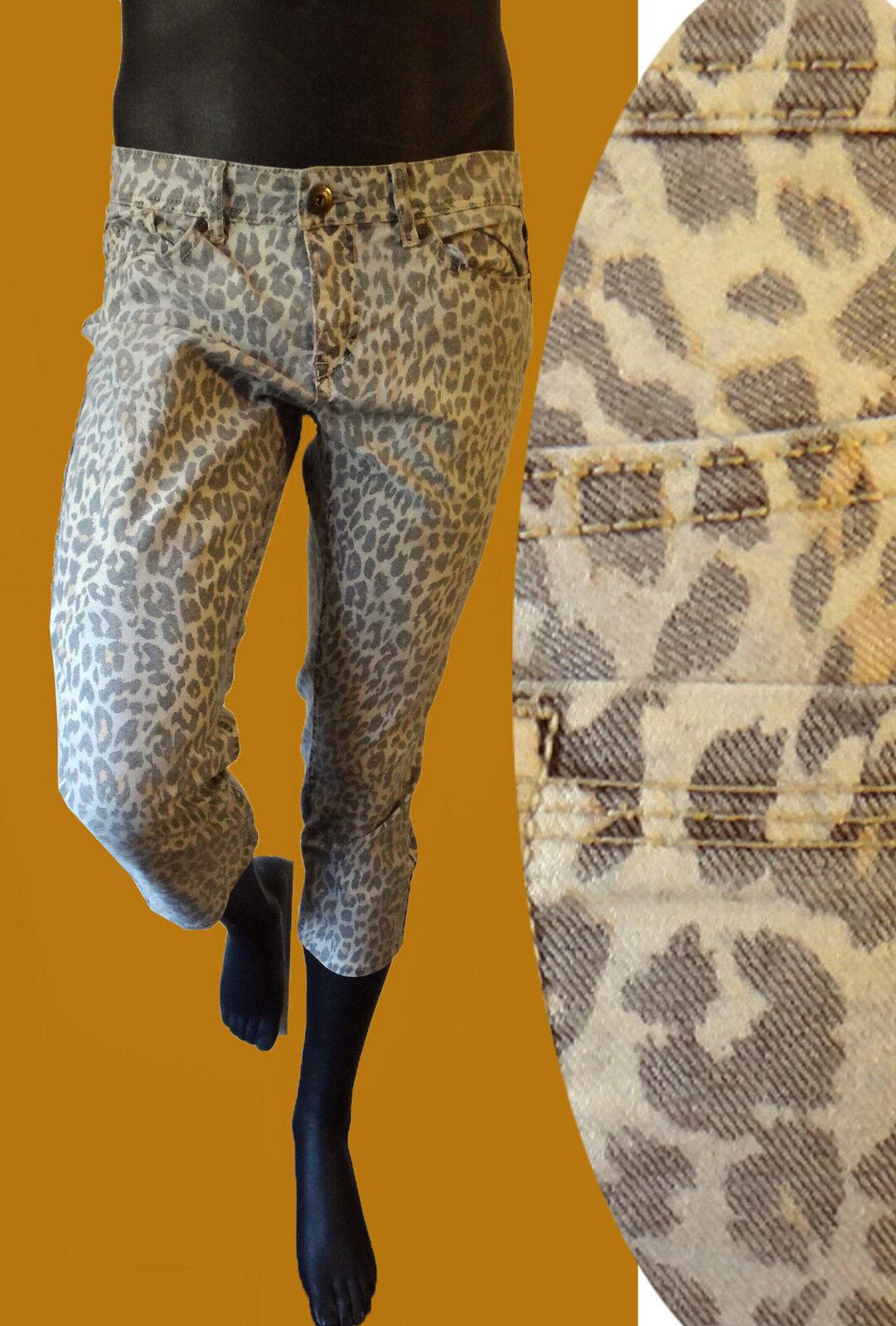 Leopard print animal crop capri 10 33 short clamdigger denim jean stretch retro