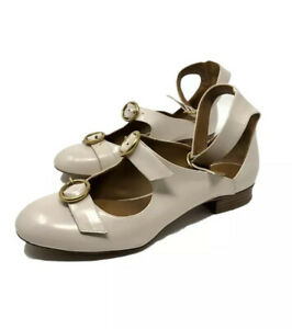Chloe-Flat-Sandals-7-5-us-37-5-eu-Triple-Strap-leather-Made-In-Italy-Beige