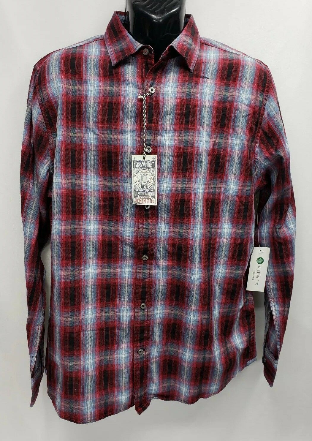 New Men's Flag & Anthem Red Plaid Long Sleeve Oxford Shirt Size L