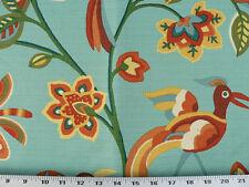 Drapery Upholstery Fabric Stain Repellant Birds on Flowers Design - Aqua Multi