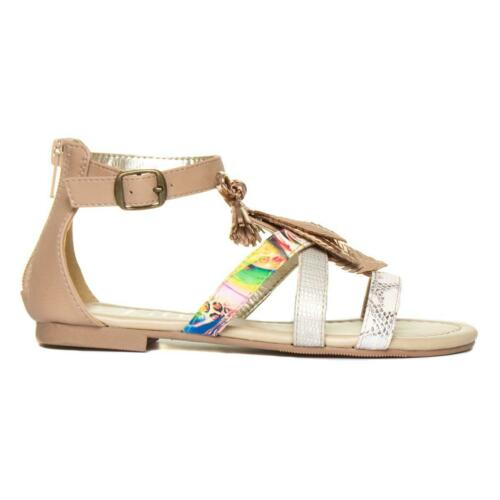 Girls Sandal Strappy Flat Sandal with Feathers in Nude by Lilley