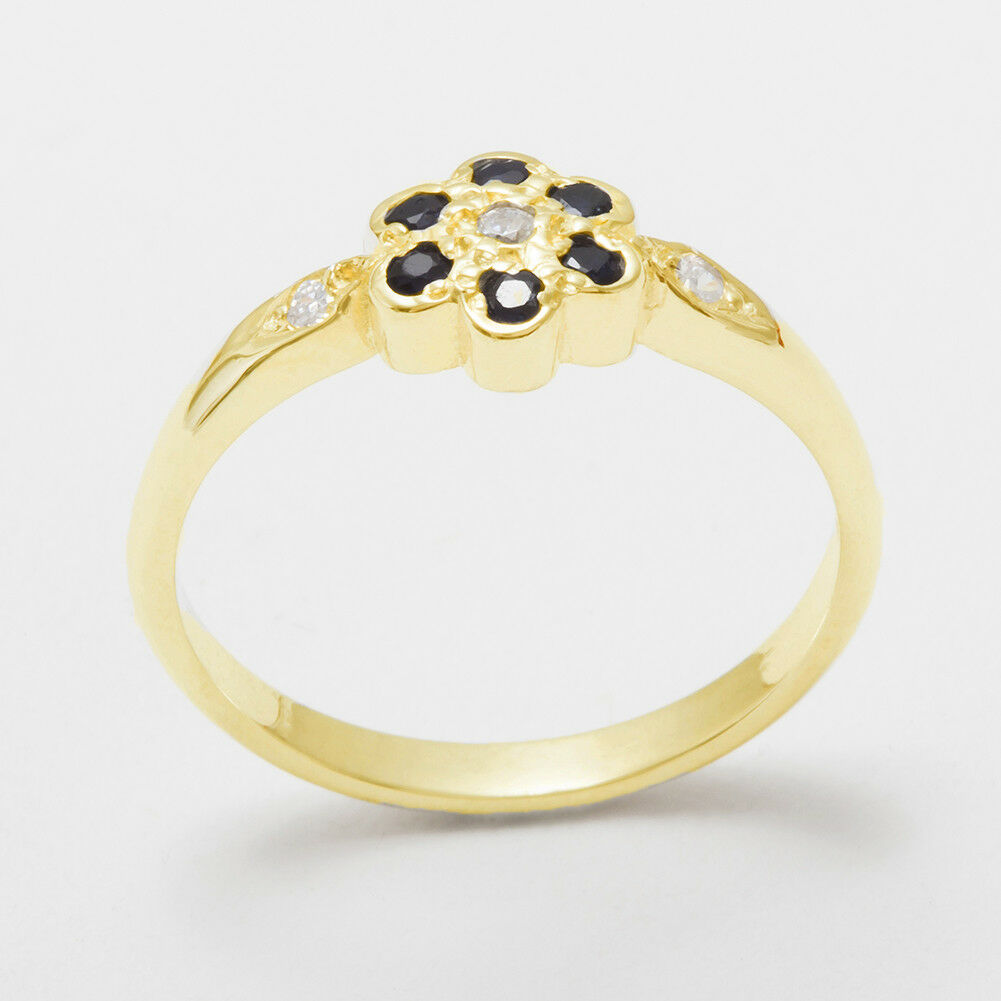 9ct Yellow gold Cubic Zirconia & Sapphire Womens Cluster Ring - Sizes J to Z