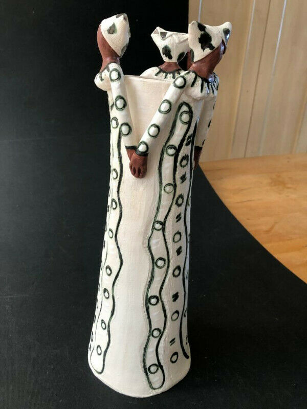 African inspired clay Handmade  Candle stand - price reduced to clear!