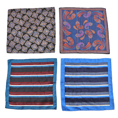 Lot of 4 Men/'s SANTOSTEFANO Abstract Silk Handkerchief Pocket Square
