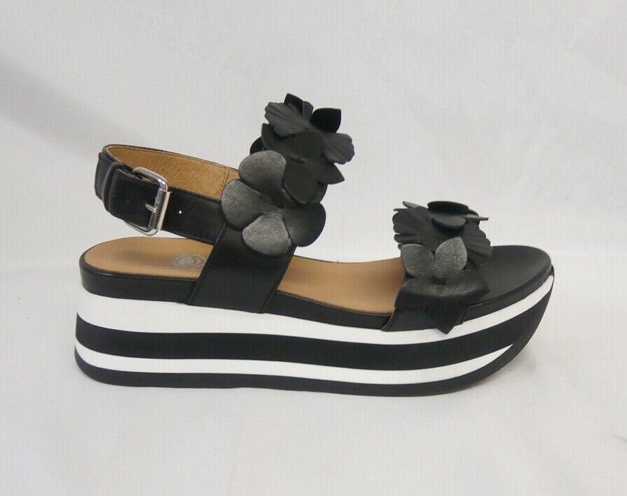 Janet sport sandalo zeppa Cleo negro con fiori 43752