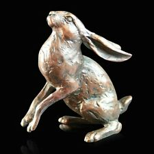 Small Hare Moon Gazing Solid Bronze Foundry Cast Sculpture Michael Simpson [914]