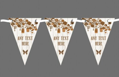 Shabby Chic Vintage Wood Brown Personalised Engagement Party Bunting