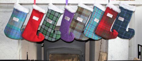 Harris Tweed Christmas Stocking,gift,purple,scottish,children,present,family