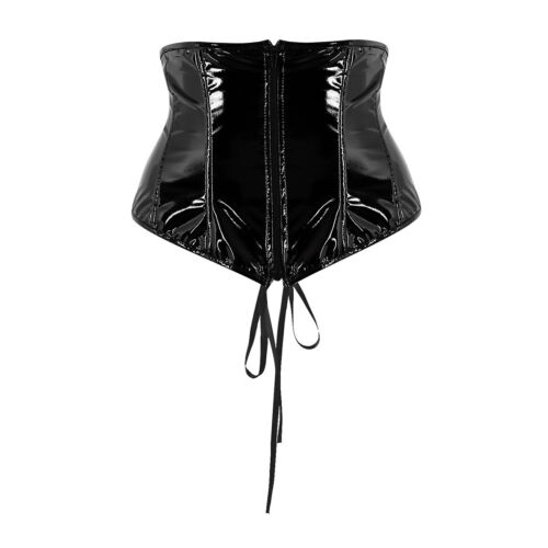 Women Punk Gothic Faux Leather Body Chest Harness Corset Bustier Tops Shapewear