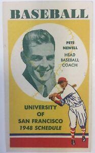 1948 University Of San Francisco Baseball Schedule Pete Newell Scarce