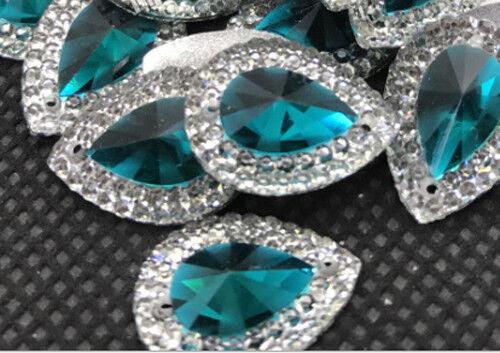 #1S 12 x Sew On JEWEL Grade A  GEM Crystal Rhinestone 14mm x10mm 12 Colours