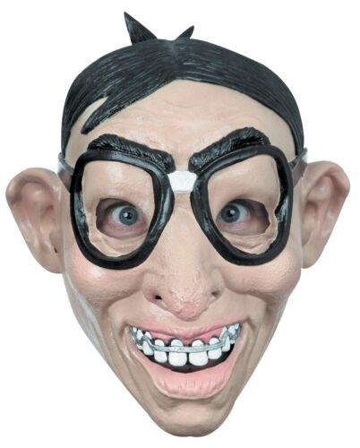 Funny Nerd With Glasses Geek Big Teeth Braces Adult Latex Halloween Full Mask