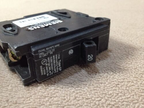120//240V 60 Hz 1 Poles 20A Siemens Breaker Model # Q120