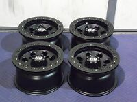 12 Polaris Rzr 570 Beadlock Black Atv Wheels Set 4 - Lifetime Warranty
