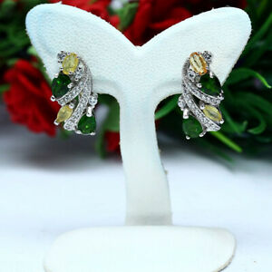 NATURAL-CHROME-DIOPSIDE-YELLOW-SAPPHIRE-amp-WHITE-CZ-EARRINGS-925-STERLING-SILVER