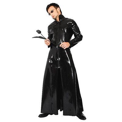 Sexy Black Jacket Faux Leather Wet Look PVC Goth Coat Dress Dominatrix Fetish