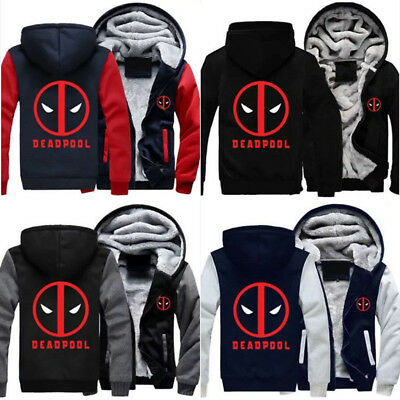 NEWEST Deadpool Cosplay Sweater Zipper Thicken Hoodie Unisex Jacket Winter Coat