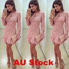AU Women's Long Sleeve Bodycon Dress Ladies Evening Party Mini Dress Size 6 - 14