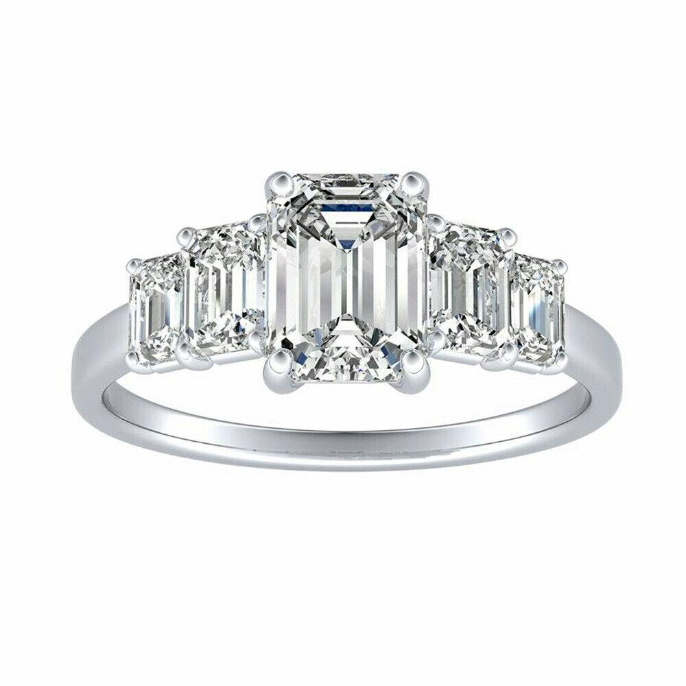 Diamond Wedding Engagement Ring 14K White gold 3.25 Ct D VVS1 Size 6 Emerald Cut