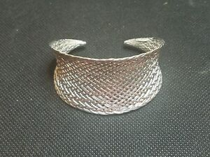 d1f7eccfeba Tiffany & Co. Sterling Silver Wide Basket Weave Cuff Bangle Bracelet ...
