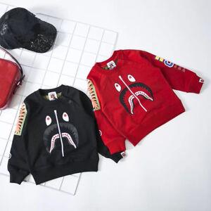 14a1095d2772 A Bathing Ape Bape Kids Boy Girl Black Red Camo Shark Sweatershirt ...