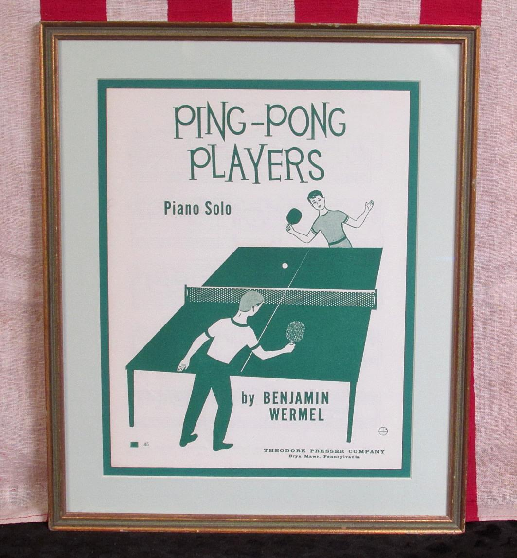 Vintage 1962 Ping Pong Players Song Sheet Music Book Framed Great Graphic Cover