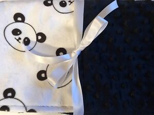 Personalized Minky Baby Blanket Pandas //Stroller Blanket//Lovey//Taggie//Baby Gift