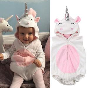 8a6c8d284f9b Image is loading Unicorn-Baby-Kids-Girl-Unicorn-Romper-Fleece-Jumpsuit-