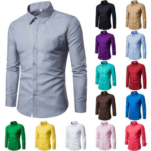 Fashion Men/'s Luxury Long Sleeve Shirt Slim Fit Stylish Dress Shirts Tops Ths01
