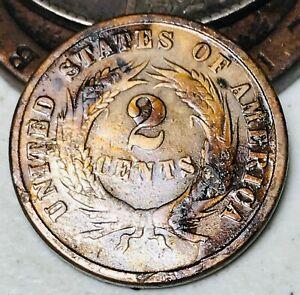 1865-Two-Cent-Piece-2C-Ungraded-Detail-Civil-War-Date-Good-US-Copper-Coin-CC4843